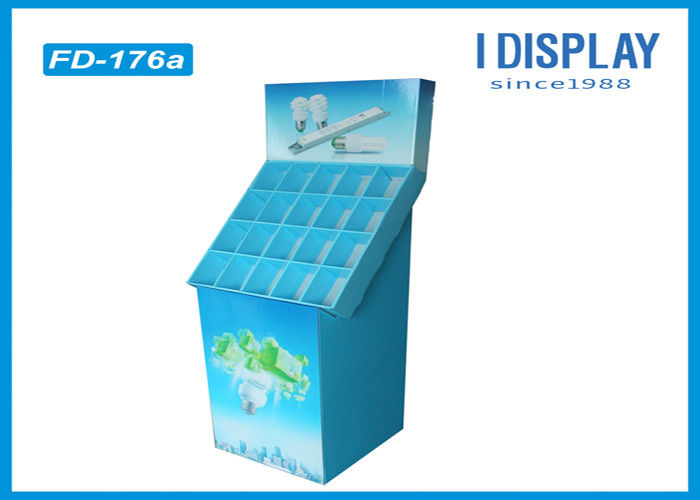 LED Bulbs Cardboard Corrugated  Floor Stand Display Retail 300*360*1323 Mm