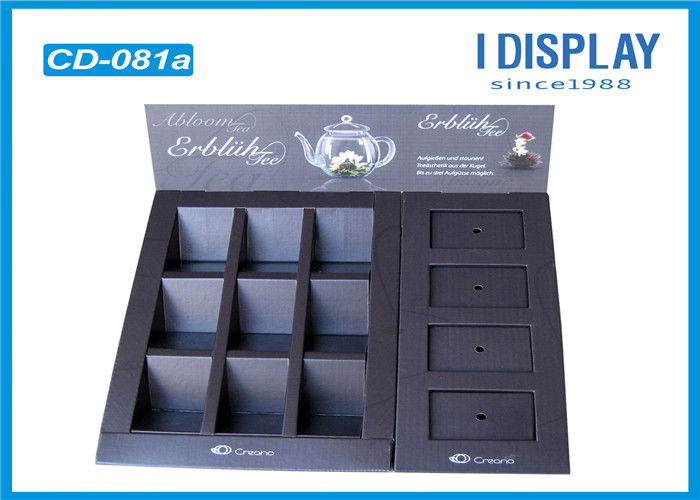 Recyclable Tea Custom Cardboard Counter Displays Racks UV Coating