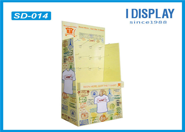 T-Shirt Cardboard Retail Hooks Display Stands / Corrugated Cardboard Displays