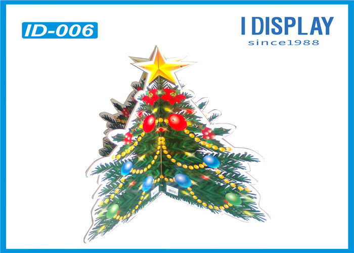 Floor Advertising Cardboard Christmas Tree Display Stands For Super Mall