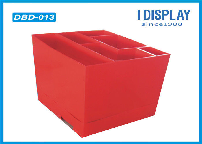 Red Cardboard Dump Bins , Corrugated Stationery Display Stands