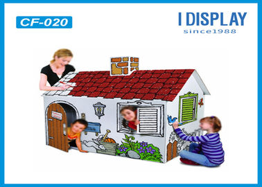 China Indoor Corrugated Kids Cardboard House White Color With Reinforce Pad factory