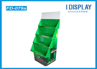 Green Cardboard Quarter Pallet Display , Battery Retail Display Racks