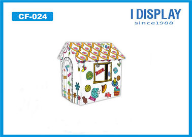 Small Kids Cardboard House / Cardboard Coloring Playhouse For Indoor Supermarket