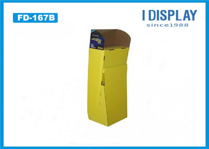 Yellow Paper Floor Display Stands , 3 Tier Cardboard  Corrugated Display Stand